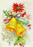 Festive bells. Greeting card with bells, mistletoe and Christmas Star Stock Photos
