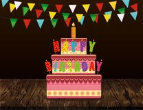 Festive big cake with candle letters Happy birthday. Greeting ca. Rd or invitation for a holiday. Garland of flags. Vector on wooden background Stock Images