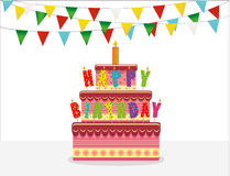 Festive big cake with candle letters Happy birthday. Greeting card. Or invitation for a holiday. Garland of flags. Vector Stock Photos