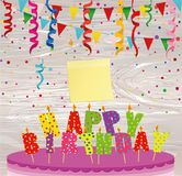 A festive big cake with candles. Letters Happy Birthday. Colorfu. L Confetti .  Empty Yellow sheet of paper for notes. Sticker. Greeting card or invitation for a Stock Photo