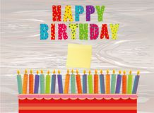 A festive big cake with candles. Words Happy Birthday.  Empty Ye. Llow sheet of paper for notes. Sticker. Greeting card or invitation for a holiday. Vector on Stock Photo