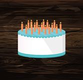 Festive big cake. Happy Birthday. Greeting card or invitation fo. R a holiday. Vector on wooden background Stock Photography