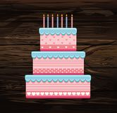 Festive big cake. Happy Birthday. Greeting card or invitation fo. R a holiday. Vector on wooden background Stock Images