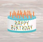 Festive big cake. Happy Birthday. Greeting card or invitation fo. R a holiday. Vector on wooden background Royalty Free Stock Photo