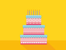 Festive big cake. Happy Birthday. Greeting card or invitation fo. R a holiday. Vector Stock Image