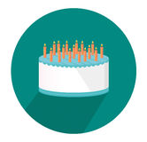 Festive big cake. Happy Birthday. Greeting card or invitation for a holiday. Vector Royalty Free Stock Photography