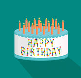 Festive big cake. Happy Birthday. Greeting card or invitation for a holiday. Vector Royalty Free Stock Photo
