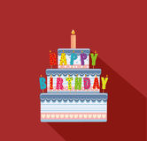 Festive big cake. Happy Birthday. Greeting card or invitation. For a holiday. Vector Royalty Free Stock Image