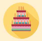 Festive big cake. Happy Birthday. Greeting card or invitation. For a holiday. Vector Stock Photos