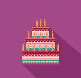 Festive big cake. Happy Birthday. Greeting card or invitation. For a holiday. Vector Royalty Free Stock Photography