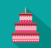 Festive big cake. Happy Birthday. Greeting card or invitation for a holiday. Vector.  Stock Photography