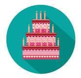 Festive big cake. Happy Birthday. Greeting card or invitation for a holiday. Vector.  Royalty Free Stock Photography