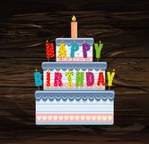 Festive big cake.Letters Happy Birthday. Greeting card or invita. Tion for a holiday. Vector on wooden background Royalty Free Stock Image