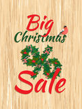 Festive Big Christmas Sale New Year poster with wreath garland. Vector illustration Festive Big Christmas Sale New Year poster with wreath garland candy, berries Stock Image
