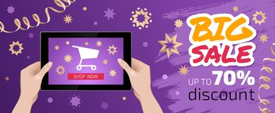 `Festive Big Sale` Graphic Design. Vector template on the subject of `Internet Trading / E-Commerce Royalty Free Stock Photos