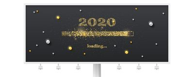Festive Billboard With Loading Bar. Transition To 2020 New Year On Black Background. Happy New Year And Christmas Card Royalty Free Stock Image