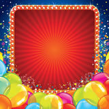 Festive Birthday Banner with Colorful Balloons. Birthday Card Invitation Background Vector Royalty Free Stock Photo