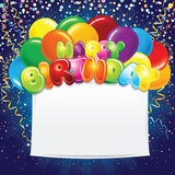 Festive Birthday Banner with Colorful Balloons. Festive Happy Birthday Banner with Colorful Balloons. Vector Royalty Free Stock Photography