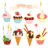 Festive birthday cakes  and ice-cream set. Vector illustration Festive birthday cakes  and ice-cream set Stock Photos
