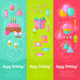 Festive birthday congratulation cards. With cake, air balloons, gift boxes, hats and ribbons for invitations and greeting cards isolated on white background Stock Image