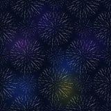 Festive birthday firework seamless pattern bursting in various shapes sparkling on black background vector Stock Photo