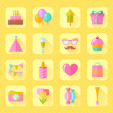 Festive birthday flat icons set. With cake, air balloons, gift boxes, hats and ribbons for websites, invitations and greeting cards Stock Photography
