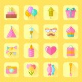Festive birthday flat icons set Stock Photography