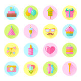 Festive birthday flat icons set. With cake, air balloons, gift boxes, hats and ribbons for websites, invitations and greeting cards Stock Photo