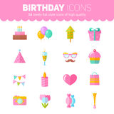 Festive birthday flat icons set. With cake, air balloons, gift boxes, hats and ribbons for websites, invitations and greeting cards Royalty Free Stock Photography