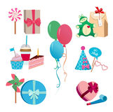 Festive or birthday party different vector elements set. Balloons, hats flags and colored masks. Carnival fun. Party holiday, flag and cake birthday Royalty Free Stock Image