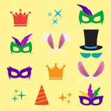 Festive birthday party elements of props. Eps10 Stock Image
