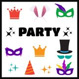 Festive birthday party elements of props. Party Birthday photo booth props Royalty Free Stock Images