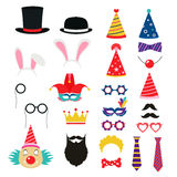 Festive birthday party elements of props. Hats, glasses, masks, mustaches, elements for a suit Royalty Free Stock Photos