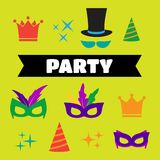 Festive birthday party elements of props. Party Birthday photo b. Ooth props Royalty Free Stock Images