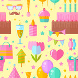 Festive birthday seamless pattern. In flat style with celebration elements for fabric, website backgrounds Stock Image