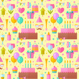 Festive birthday seamless pattern. In flat style with celebration elements for fabric, website backgrounds Stock Photos