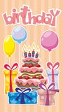 Festive Birthday Template. With holiday cake gift boxes and colorful balloons stickers on light striped background vector illustration Stock Photos