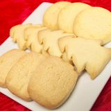 Festive biscuits. A platter of shortbread biscuits Stock Photos