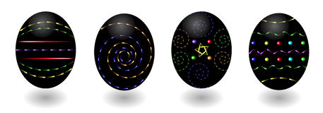 Festive  black easter eggs, neon decorative patterns. Festive  black easter eggs with neon decorative patterns Royalty Free Stock Image