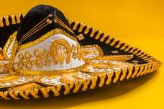 A festive black mexican mariachi sombrero. A festive black mexican, felt mariachi sombrero stock photo