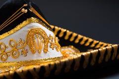 A festive black mexican mariachi sombrero. A festive black mexican, felt mariachi sombrero stock photos