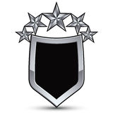 Festive black vector emblem with outline and five silver decorat Royalty Free Stock Photography