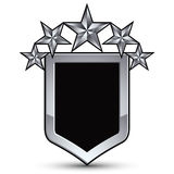 Festive black vector emblem with outline and five silver decorat. Ive pentagonal stars, 3d royal conceptual design element, clear eps8. Symbolic coat of arms Stock Photography