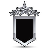Festive black vector emblem with outline and five silver star Stock Photography