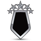 Festive black vector emblem with outline and five silver stars Stock Photography