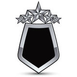 Festive black vector emblem with outline and silver stars Stock Photography