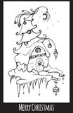 Festive black and white Christmas card. With a hand-drawn picture and wish for your creativity Stock Images