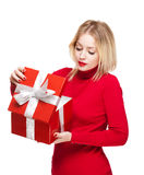 Festive blond with gift box. Stock Photo