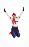 Festive blonde in christmas jumper Stock Images