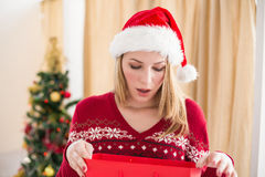 Festive blonde opening gift bag Stock Photos